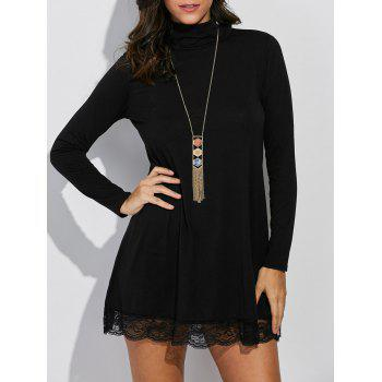 High Neck Lace Insert Long Sleeve Dress