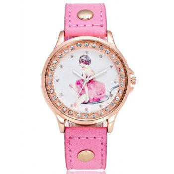 PU Leather Printed Dial Plate Watch
