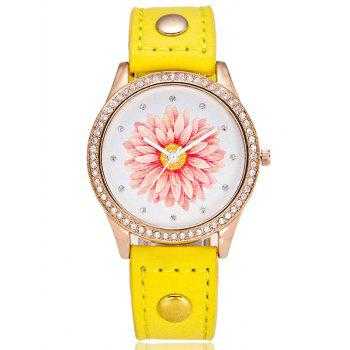 PU Leather Watchband Flower Rhinestone Watch