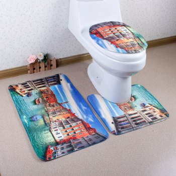 3Pcs Antislip Venice Bathroom Toilet Rug Floor Carpet Set - COLORMIX COLORMIX