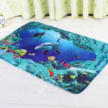 Sea World Water Absorbent Antislip Bathroom Rug - BLUE BLUE