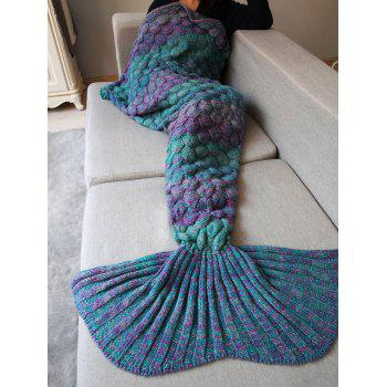 Comfortable Knitting Fish Scales Mermaid Tail Style Blanket