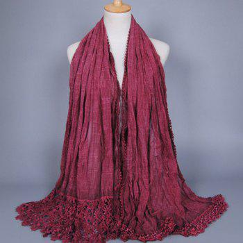 Openwork Lace Trim Oblong Scarf