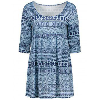 Empire Waist Tunic Blouse with Tribal Print