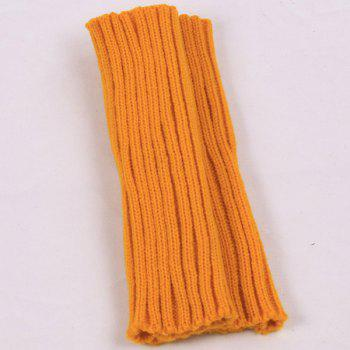Plain Knitted Ribbed Wrist Warmers -  ORANGE YELLOW