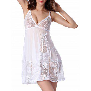 Cami Floral Lace Panel Babydoll - WHITE WHITE