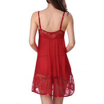 Cami Floral Lace Panel Babydoll - RED RED