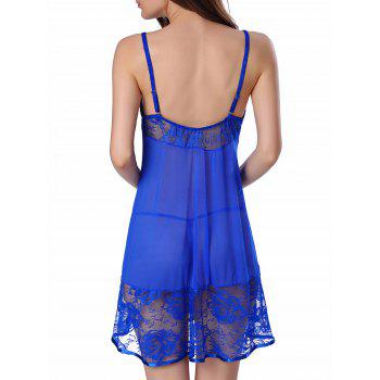Cami Floral Lace Panel Babydoll - BLUE BLUE