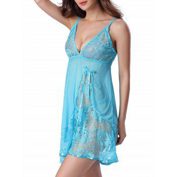 Cami Floral Lace Panel Babydoll - LIGHT BLUE LIGHT BLUE