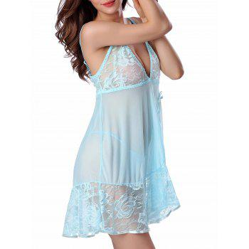 Cami Floral Lace Panel Babydoll - PANTONE TURQUOISE PANTONE TURQUOISE