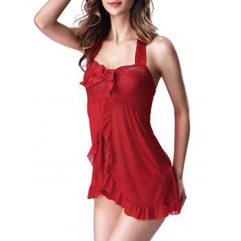 Halter Front Slit Lace Panel Babydoll With Panty - RED RED