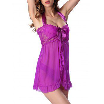 Halter Front Slit Lace Panel Babydoll With Panty - 2XL 2XL