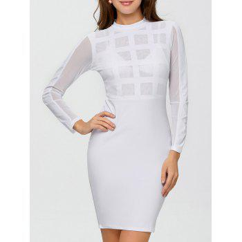 Long Sleeve High Waist Mesh Pencil Dress
