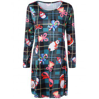 Christmas Print Long Sleeve Swing Mini Dress