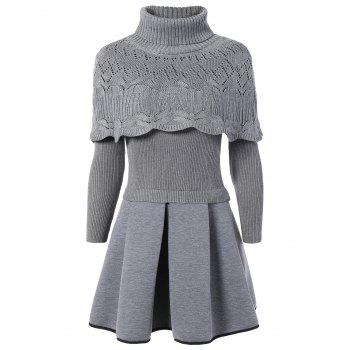 Turtleneck Openwork Cape and Ribbed Ball Dress