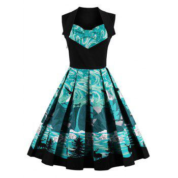 Knee Length Fit and Flare Print Vintage Dress