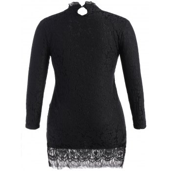 Plus Size Stand Collar Lace Mini Dress - BLACK BLACK