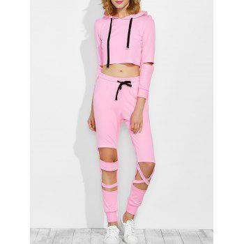 Ripped Cropped Hoodie with Cut Out Sweatpants
