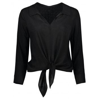 Long Sleeve Cropped Front Tie Shirt