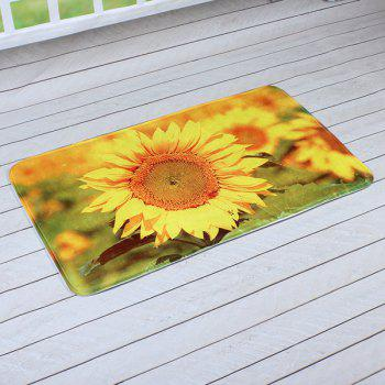 Household Sunflower Print Antislip Door Entrance Carpet - CITRUS 40CM*60CM