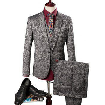 Pocket Jacquard One Button Three Piece Suit