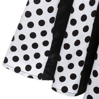 Retro Polka Dot Party Halter Swing A Line Dress - MILK WHITE 2XL