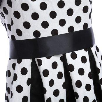 Retro Polka Dot Party Halter Swing A Line Dress - MILK WHITE MILK WHITE