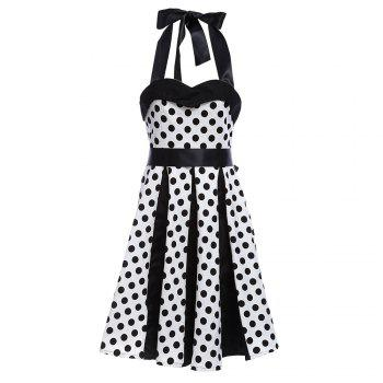 Retro Polka Dot Halter A Line Dress - MILK WHITE S