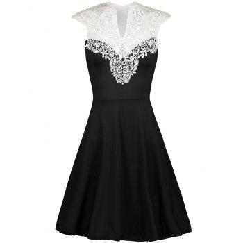 Vintage Lace Insert High Waist Dress