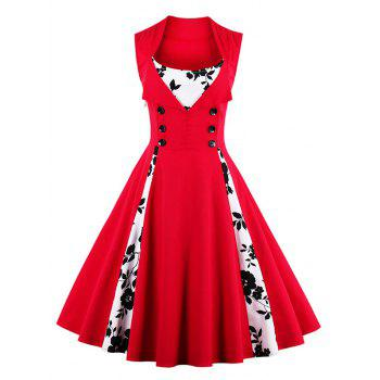 Knee Length Fit and Flare Print Vintage Dress, BLACK, M in Vintage ...