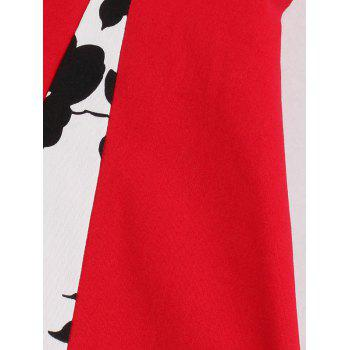 Fit and Flare Print Vintage Tea Length Dress - RED 2XL