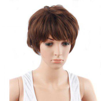 Fluffy Short Mixed Color Neat Bang Straight Synthetic Hair Wig - COLORMIX