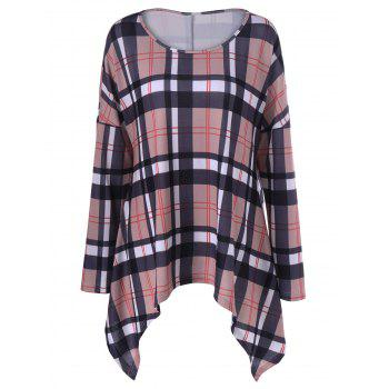 Drop Shoulder Plaid Asymmetrical T-Shirt