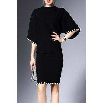 Mock Neck Beaded Sweater and Knit Bodycon Skirt