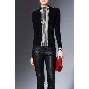 High Neck Stripe Fitted Sweater