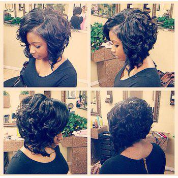 Short Side Parting Heat Resistant Fiber Curly Wig