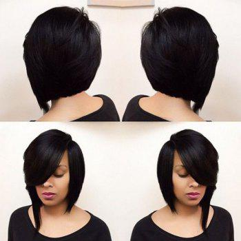 Short Straight Side Parting Asymmetric Bob Synthetic Capless Wig