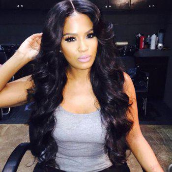 Buy Adiors Fluffy Long Wavy Middle Parting Synthetic Wig BLACK