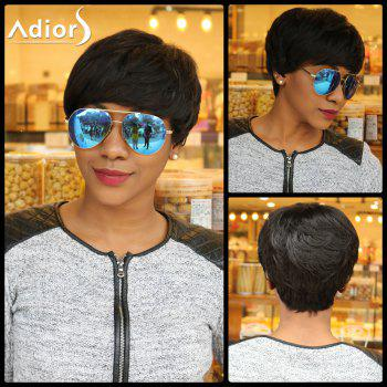 Heat Resistant Synthetic Short Boy Cut Fluffy Curly Capless Wig - BLACK