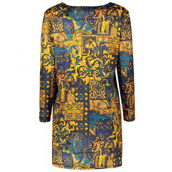 Plus Size Long Sleeve Print Bodycon Mini Dress - DEEP YELLOW DEEP YELLOW