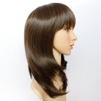 Stylish Straight Black Browm Mixed Synthetic Medium Layered Capless Wig For Women - BLACK BROWN