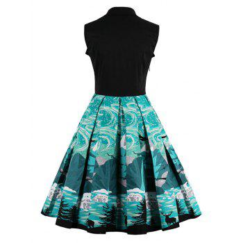 Knee Length Fit and Flare Print Vintage Dress - BLACK XL