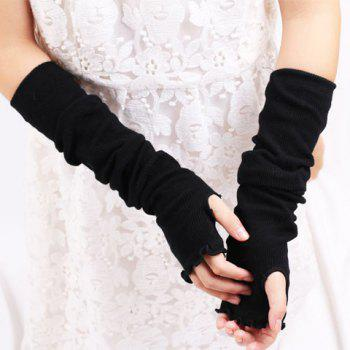 Flouncing Knit Fingerless Arm Warmers - BLACK