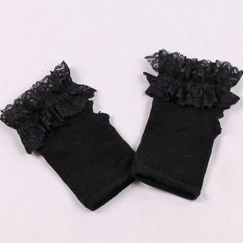 Lace Trim Knitted Fingerless Gloves - BLACK