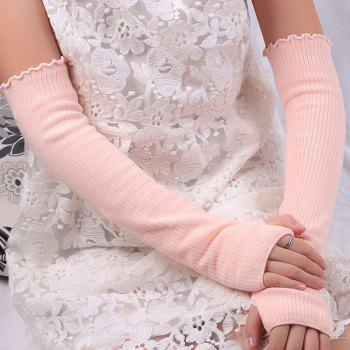 Plain Knitted Ribbed Fingerless Arm Warmers - PINK