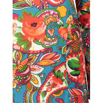 Plus Size Colorful Print Long Sleeve  Dress - LIGHT RED 2XL