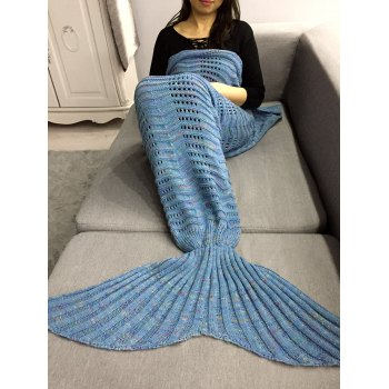 Hollow Out Crochet Knit Wave Striped Mermaid Blanket Throw - LIGHT BLUE