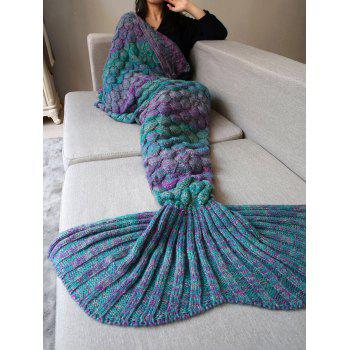 Comfortable Knitting Fish Scales Mermaid Tail Style Blanket - COLORMIX