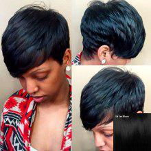 Women's Stylish Short Inclined Bang Human Hair Wig