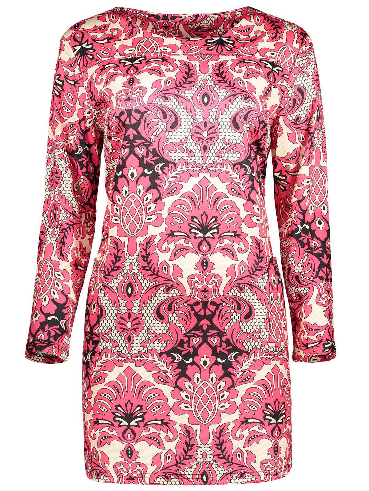 Plus Size  Paisley Printed Sheath Dress - RED XL